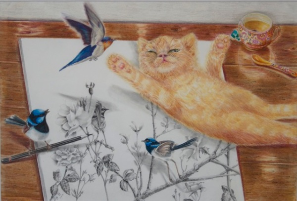 Liz Butcher 3D drawing of blue wrens coming to life off the page