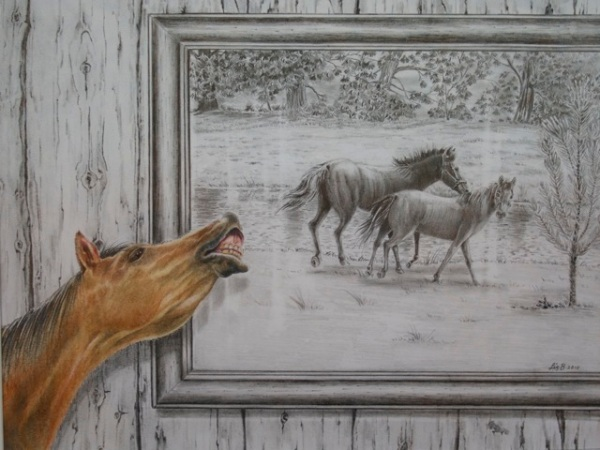 Liz Butcher 3D drawing of horse calling to picture of other horses