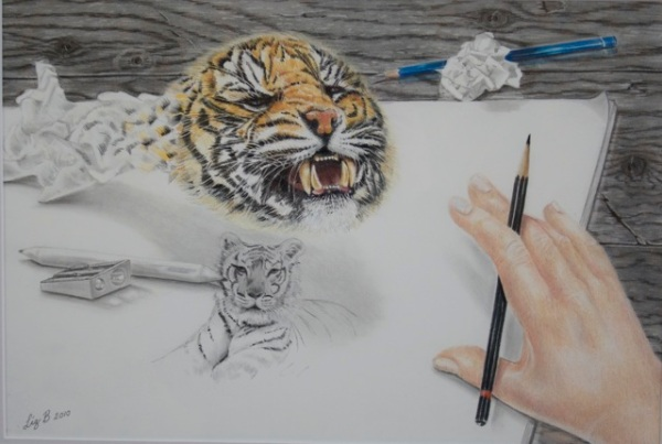 Liz Butcher 3D pencil drawing of rejected tiger drawing coming to life