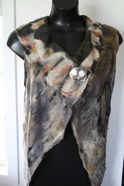 felted vest using cordless sander to felt
