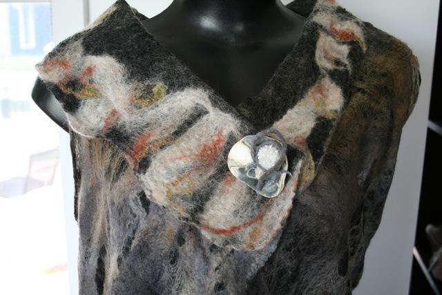 Close-up of felted vest