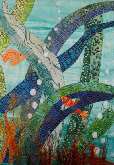 Liz Butcher's underwater textile painting with fish