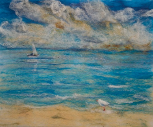felted painting of calm blue seas
