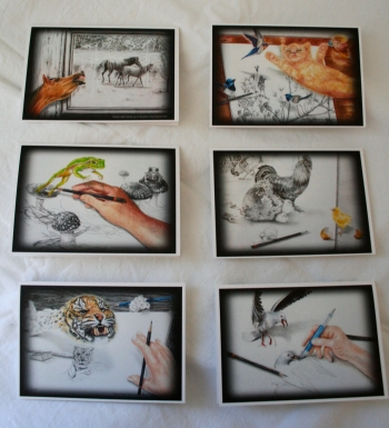 Reproduction prints of 3D drawings onto 250g card stock