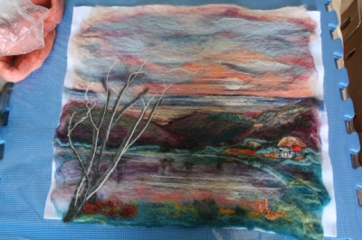 Stage 1 of felt landscape painting