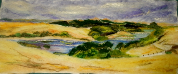 Felted painting of King Island farmland